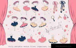 小芭蕾舞演员形象手绘插画图案矢量素材 Little ballerina