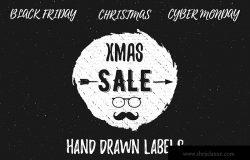 手绘设计风格圣诞节促销标签/Logo设计模板 Hand Drawn Christmas Sale Labels / Logos