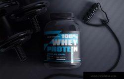 蛋白粉保健品罐外包装设计效果图样机