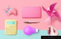 2019年最新粉红色品牌VI场景海报设计元素【小猪、计算器、钢笔、灯泡、风车】