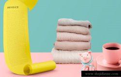 2019年最新粉红色品牌VI场景海报设计元素【账单、毛巾、咖啡杯、小猪】