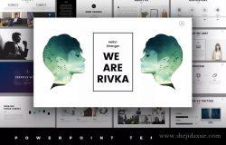 简约时尚风格企业/工作室/团队介绍PPT演示文稿模板 Rivka Minimal PowerPoint Template