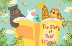 动物读书主题矢量插画设计素材
