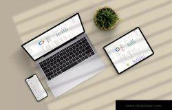 手机/平板电脑/笔记本电脑响应式设计效果图样机v05 Responsive Device Mockup