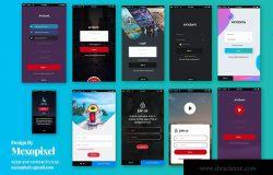 移动应用注册登录用户交互界面设计模板 SignUp / Login – Mobile app Form UI Kit Elements