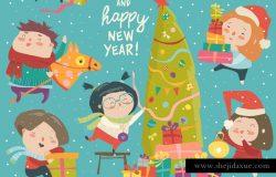 快乐卡通儿童圣诞装饰品矢量插画