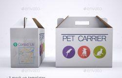 水果蔬菜手提纸箱干货纸盒海鲜包装礼盒设计素材 PSD智能贴图样机