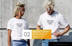 情侣T恤服装设计效果图样机 Two Persons White T-Shirt Real World Photo Mock-up