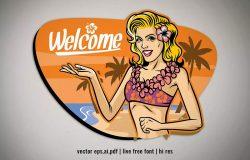 夏季海滩欢迎标志矢量插画素材