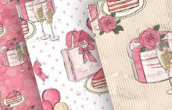 女孩生日主题水彩数码纸图案设计素材
