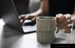 办公场景咖啡杯马克杯样机 Coffee cup design Mockup
