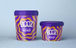 不同规格的冰淇淋杯外观设计效果图样机 Realistic Ice Cream Cups Mockup