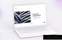 白色超极本笔记本电脑样机模板 White Laptop Mockup