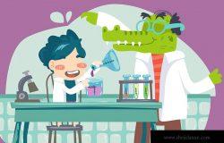 儿童实验室主题卡通矢量手绘插画素材