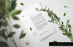 真实的花卉阴影场景下单页A4纸贴图展示模版 Floral Mockup Scene