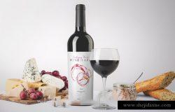 红酒品牌贴图场景展示样机PSD模版 Packaging Mockup