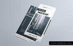 三折页传单贴图样机模版 Tri-Fold Brochure Mockup