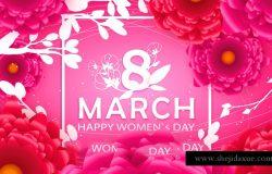 春季剪纸花折纸卉贺卡三八妇女节母亲节快乐海报矢量素材