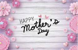 母亲节贺卡纸艺心形与粉红花卉概念设计矢量素材 Happy mother's day