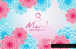 优雅的3D剪纸花卉背景春天母亲节三八妇女节女神节贺卡折页矢量素材