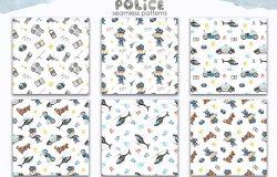 警察水彩剪贴画/卡片/图案素材