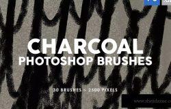 30款木炭纹理PS印章图案笔刷