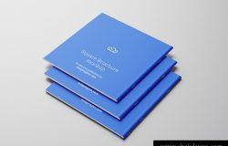 方形宣传画册小册子封底设计提案样机PSD模版 Square brochure mockup