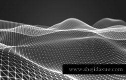 三维抽象线框数字山脉背景 未来科技大数据技术概念