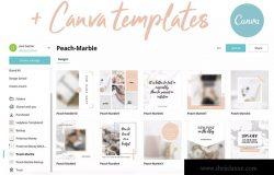 桃色大理石纹理Instagram社交推广设计素材包 Canva Instagram Templates. Peach & Marble