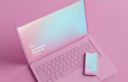 粉色iPhone&MacBook苹果设备屏幕展示样机模板合集