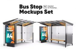 公交车站海报广告设计样机集