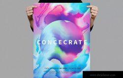 彩色星球抽象油画背景海报传单模板