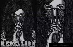 杀手女郎手绘印花图案设计素材 Rebellion