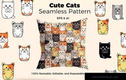可爱卡通猫手绘图案纹样背景素材 Cats Patter