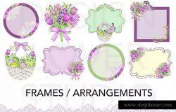 紫色复活节水彩数码纸张背景素材 Watercolor PURPLE EASTER digital paper pack