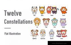 扁平设计风格十二星座卡通形象矢量设计素材 Twelve constellations – flat Illustration