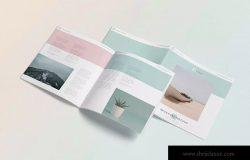 方形小册子企业画册杂志设计效果图样机 Square Brochure – Magazine Mock-Up
