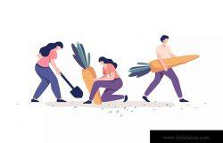 农作物收割场面矢量插画素材 People Harvesting Vegetables