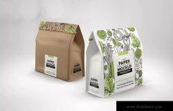 面包外带食品包装纸袋外观设计样机 Paper Bags with Clip Seal Packaging Mockup