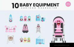 10个婴儿设备用具用品可爱卡通形象矢量插画 10 Cute Baby Equipment Vector Illustration