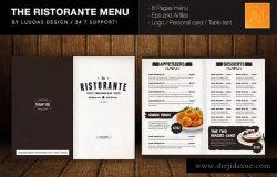 意大利餐厅西式餐厅食品菜单设计模板 The Ristorante Food Menu Illustrator Template