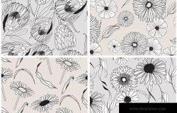 创意手绘花卉插画图案纹理素材 Graphic Flowers Patterns & Elements