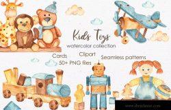 儿童玩具水彩画剪贴画/卡片/图案素材包