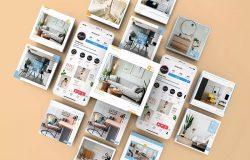 创意新颖的社交媒体方形社交贴图手机演示样机模板