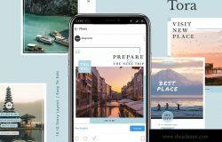 旅行文化主题Instagram信息流贴图设计模板 Tora – Instagram Feeds Pack