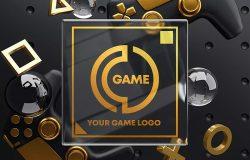 游戏手柄&玻璃Logo样机素材包