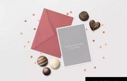 邀请函贺卡邀请卡设计预览样机模板 Invitation Greeting Cards Love Holidays Mock-Up