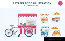 5个移动食品摊位/餐车矢量图形插画素材 5 Street Food Stall Vector Illustration Set