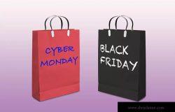 网络星期一/黑色星期五促销日购物袋设计样机01 Business days mockup