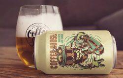 铝制啤酒易拉罐外观设计效果图样机模板